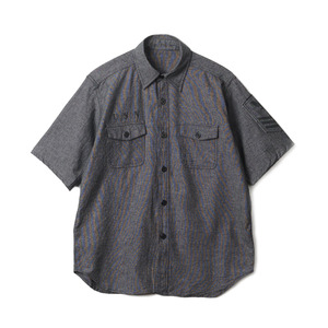 "YMCL KY US Type NAVY Chambray Shirts Stencil S/S ""Black"""