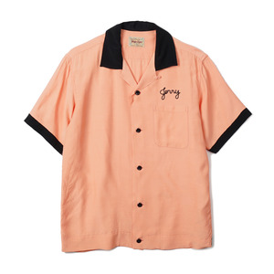 "STYLE EYES Rayon Bowling Shirt Two-Tone ""Pink"""