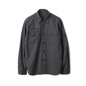 "YMCL KY US Type NAVY Chambray Shirts Stencil L/S ""Black"""