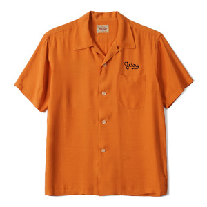 "STYLE EYES Rayon Bowling Shirt W/Chain EMB'D California ""Orange"""