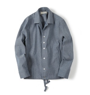 "SHIRTER Drawstring Chambray Jacket ""Blue"""