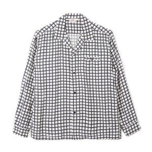 "STAR OF HOLLYWOOD Square Grid High Density Rayon L/S Open Shirt ""Off White"""