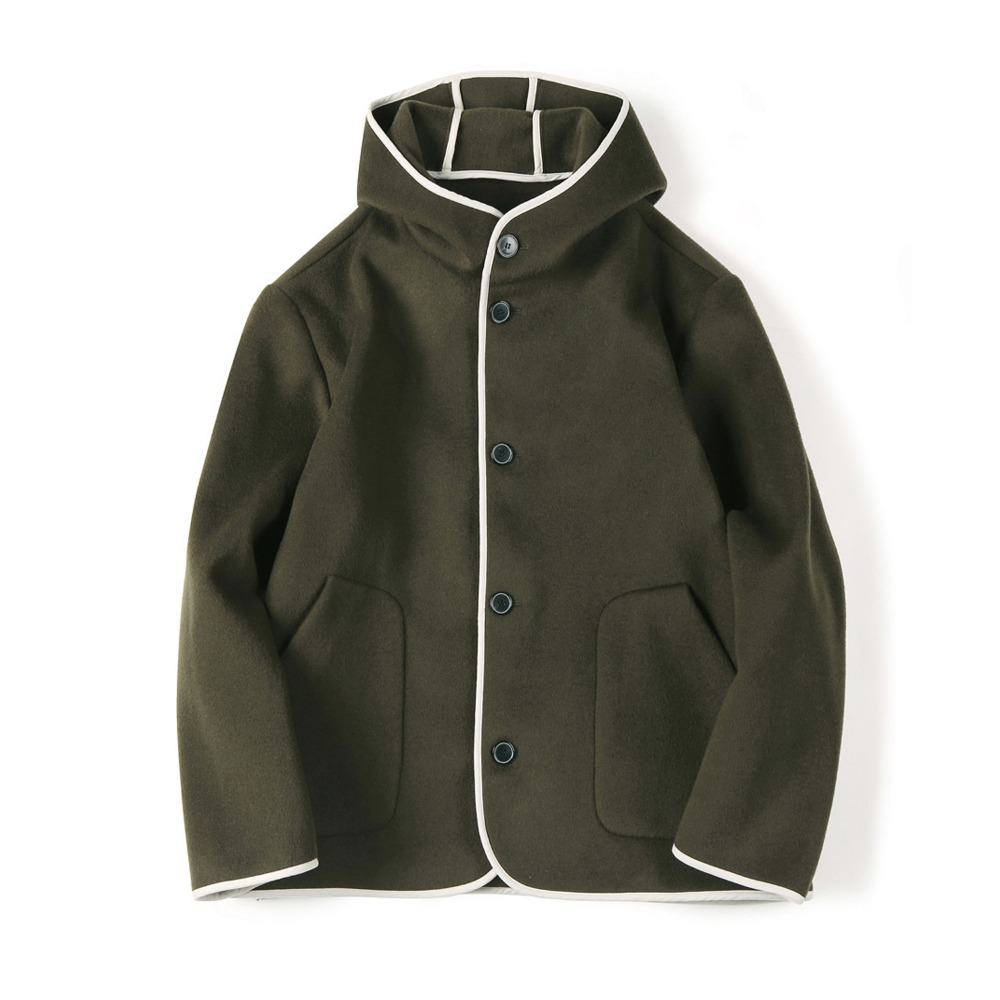 "SHIRTER Reversible Hooded Wool Jacket ""Olive"""