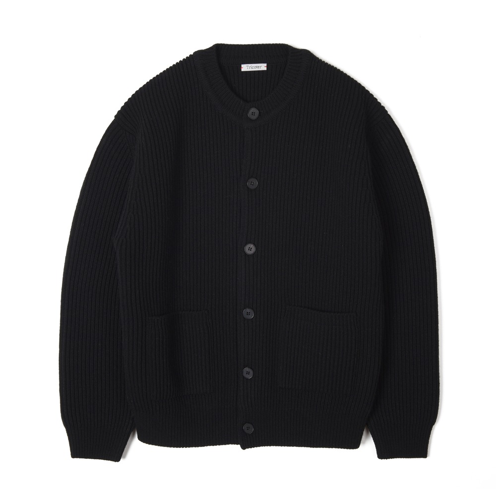 "TRICOTER Chunky Ribbed Full Cardigan ""Black"""