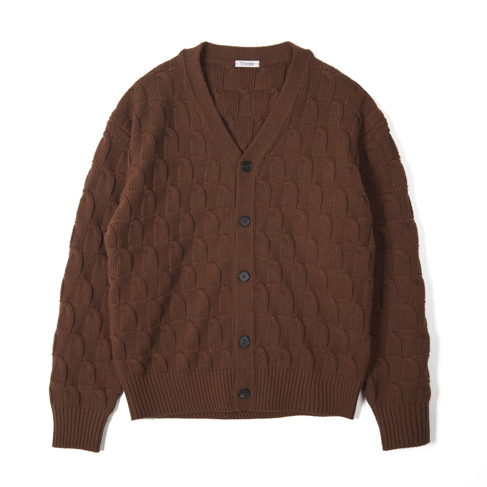 "TRICOTER Bold Cable V Neck Cardigan ""Brown"""