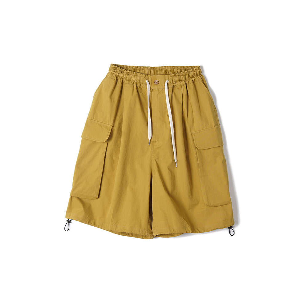 "CONICHIWA BONJOUR Wide Cargo Shorts ""Beige/Yellow"""