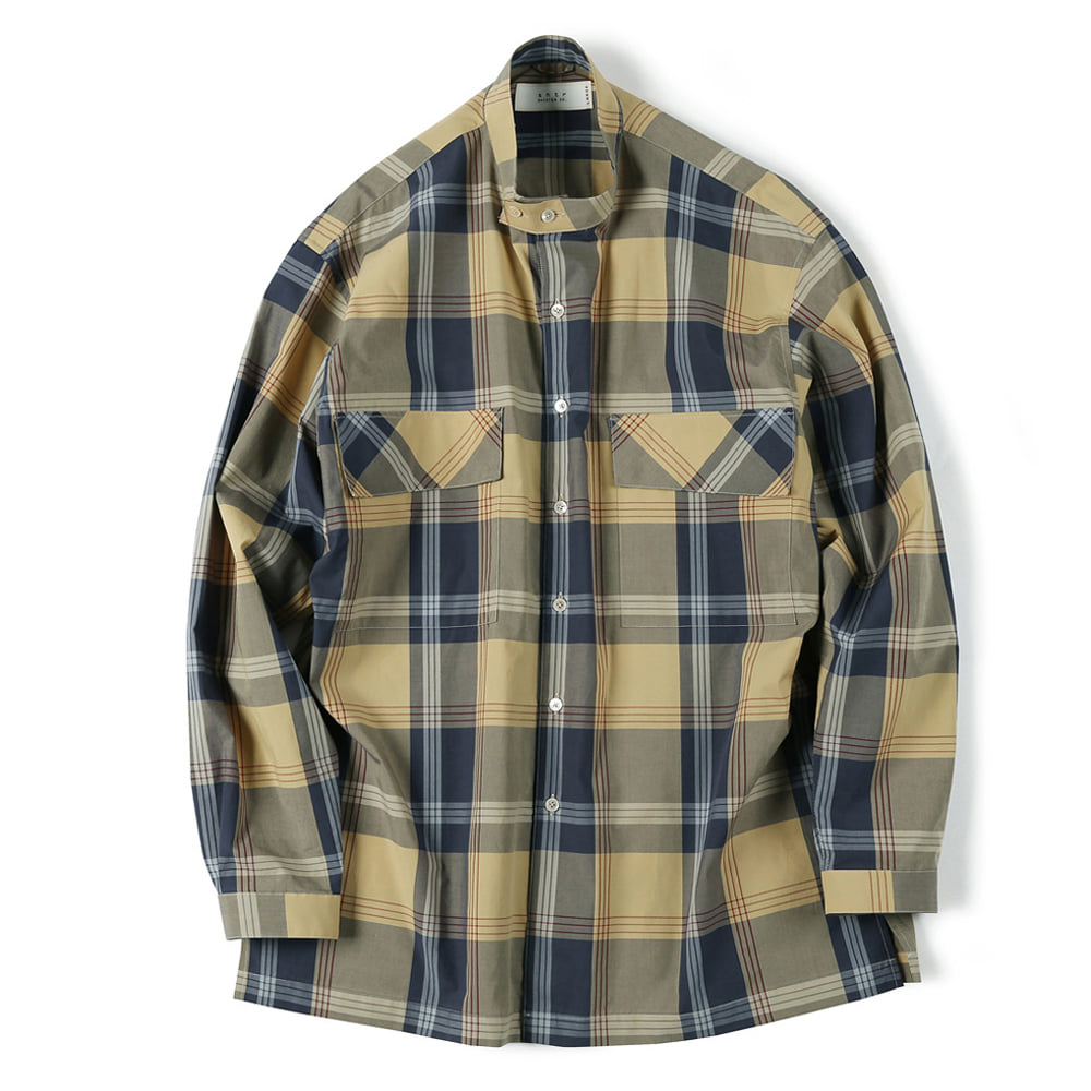 "SHIRTER Checked Band Collar Shirt ""Navy"""