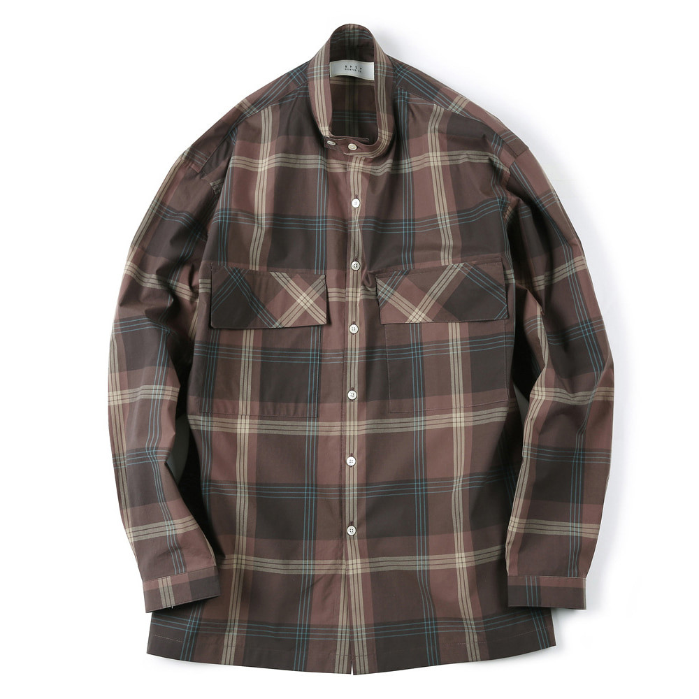 "SHIRTER Checked Band Collar Shirt ""Brown"""