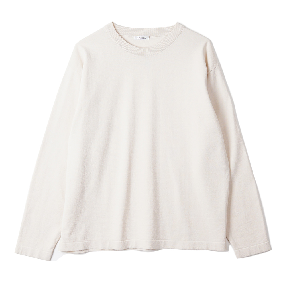 "TRICOTER High Twist Cotton Crew Neck Knit ""Ivory"""