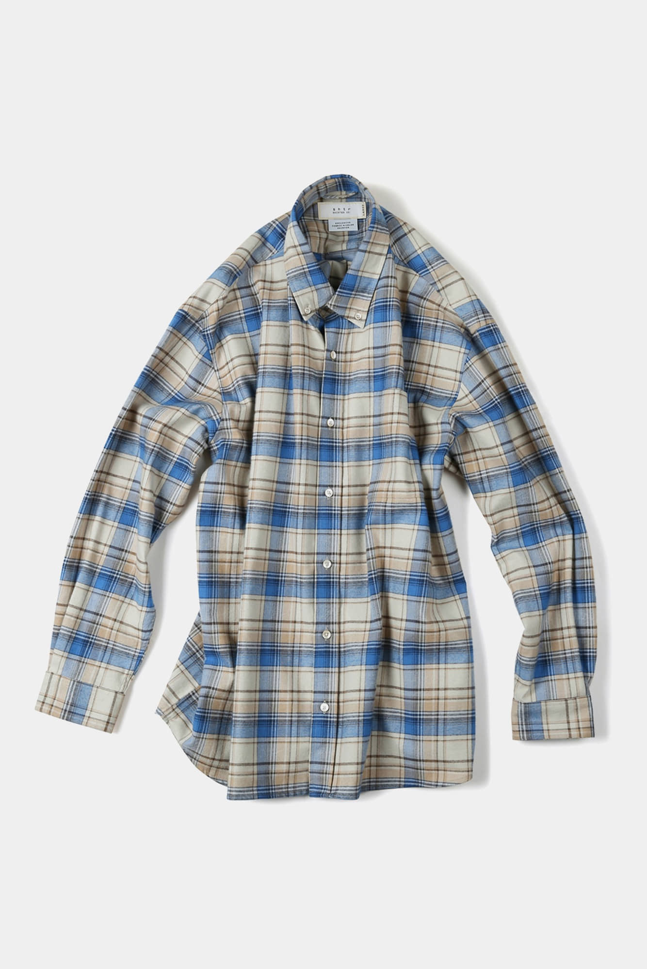 "SHIRTER Flannel Checked Big B.D Shirt ""Blue"""