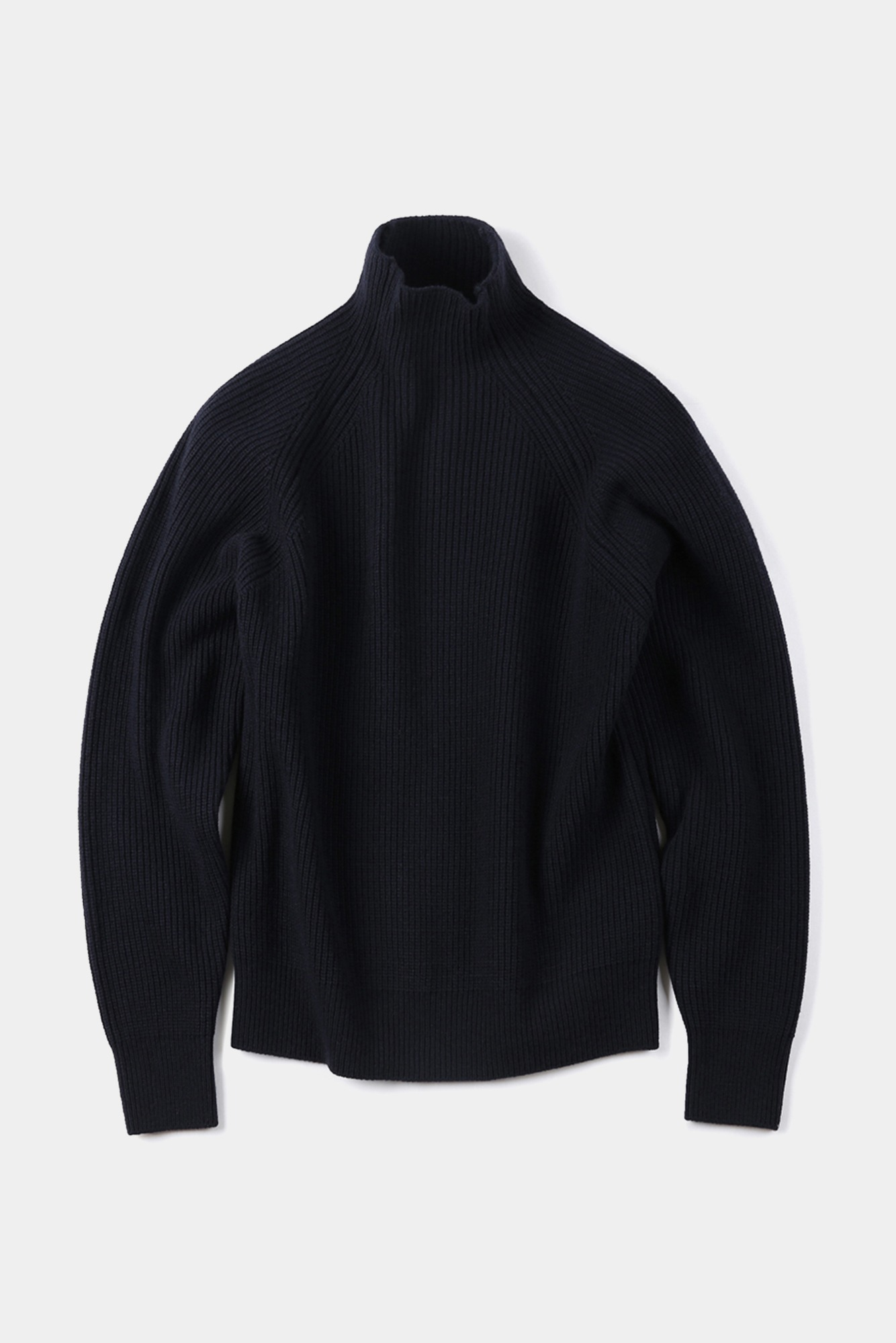 "SHIRTER Super Fine Lambs Wool High Neck Knit ""Dark Navy"""